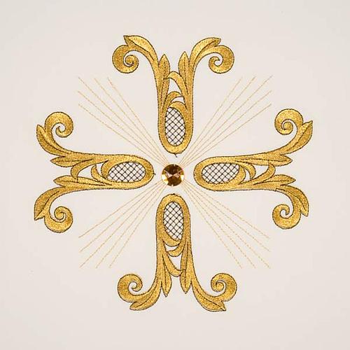 Coprileggio croce dorata perlina vetro 9