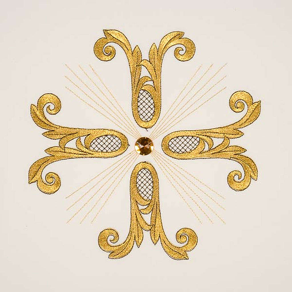 Gold cross pulpit cover with glass insert 4