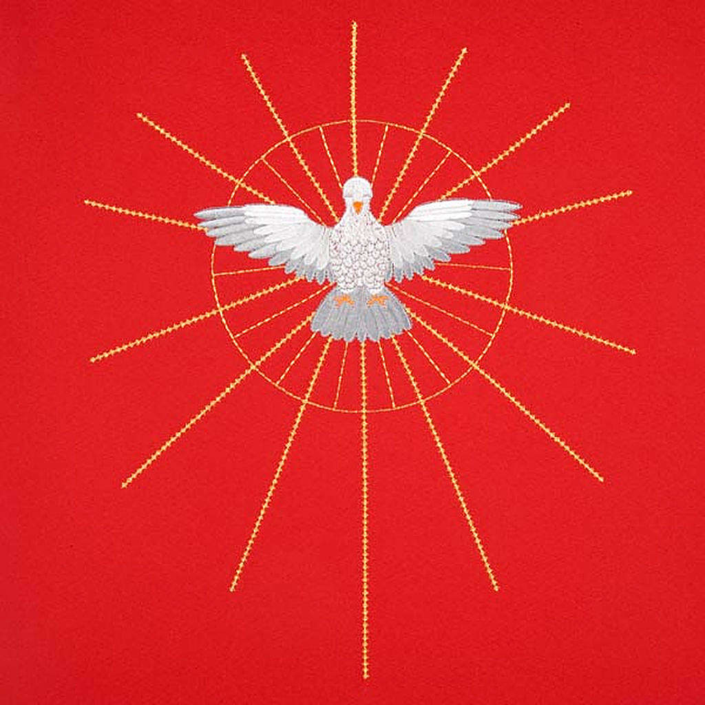 Lectern Cover, red, embroidered Holy Spirit and halo of rays 4