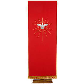 Lectern Cover, red, embroidered Holy Spirit and halo of rays s1