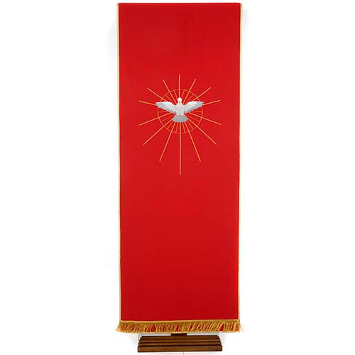 Lectern Cover, red, embroidered Holy Spirit and halo of rays 1