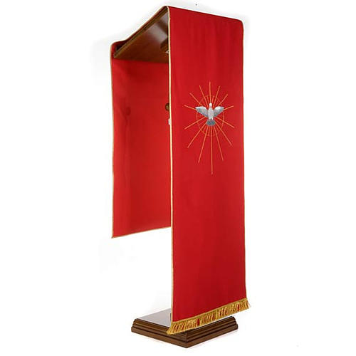 Lectern Cover, red, embroidered Holy Spirit and halo of rays 2