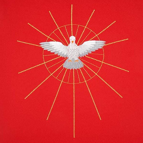 Lectern Cover, red, embroidered Holy Spirit and halo of rays 3