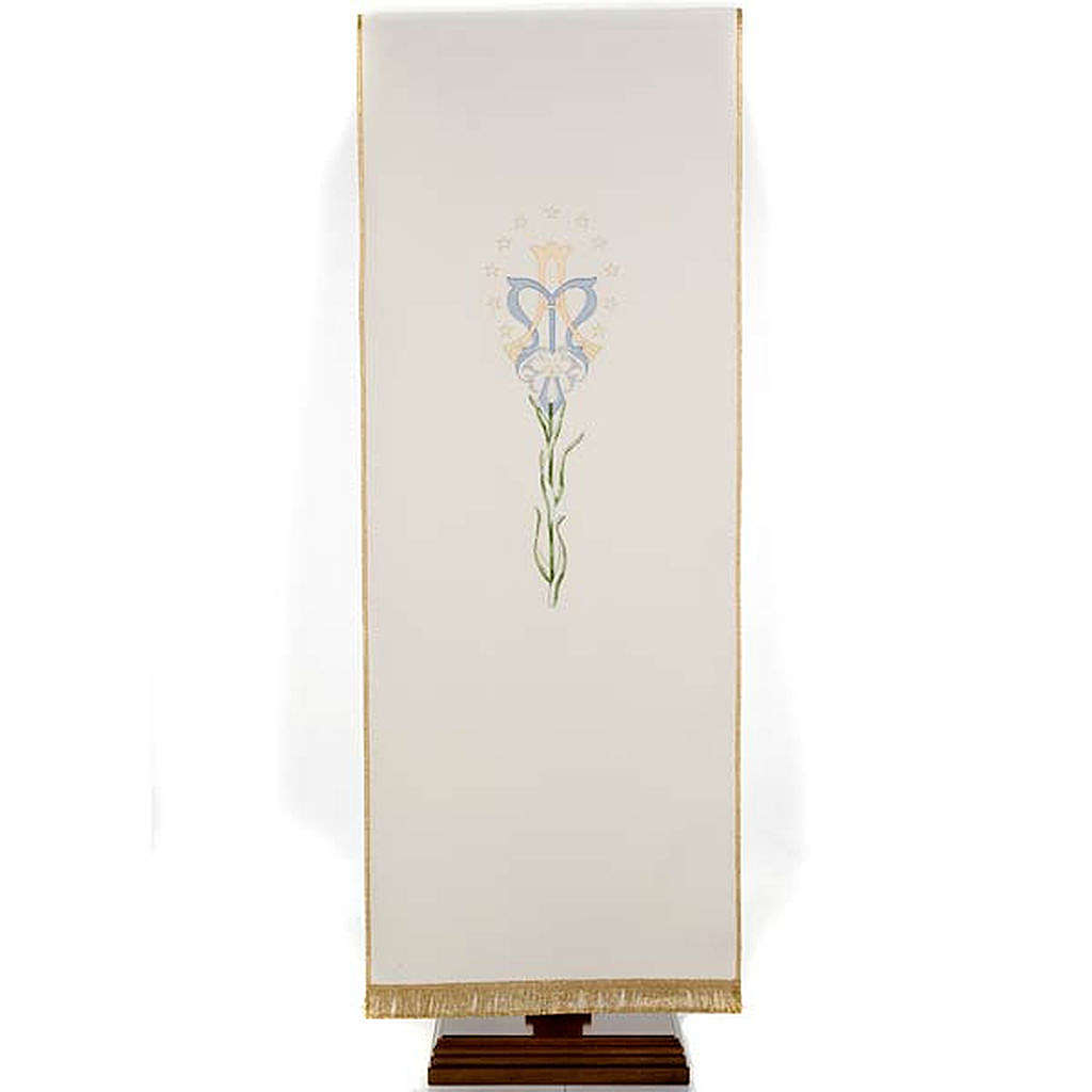 Lectern Cover, white, Marian symbol and lily 4