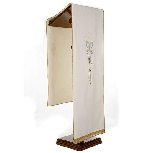 Lectern Cover, white, Marian symbol and lily 2