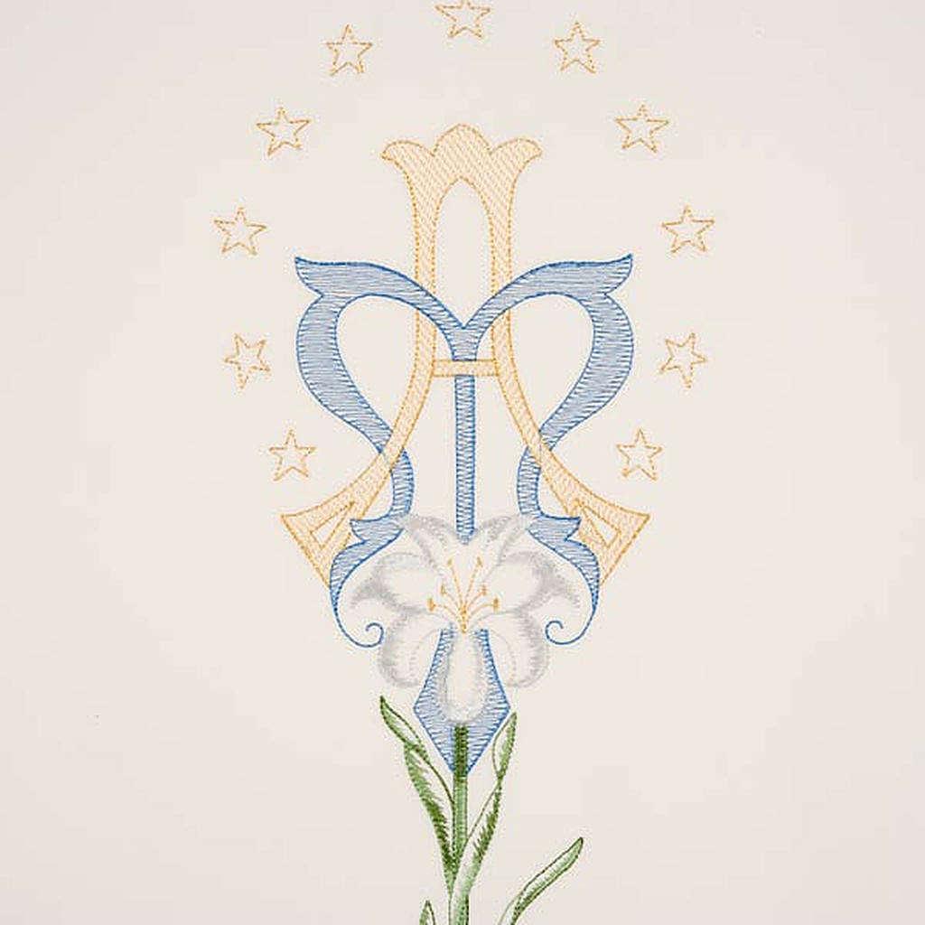 Coprileggio bianco simbolo mariano e giglio 4