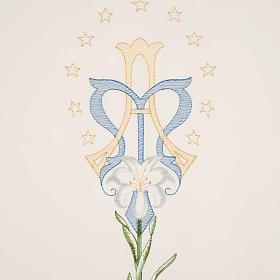 Coprileggio bianco simbolo mariano e giglio s3