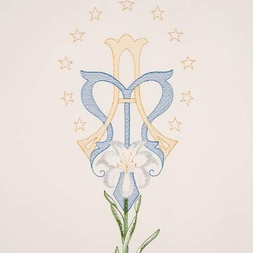 Coprileggio bianco simbolo mariano e giglio 3