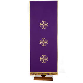 Lectern Cover, embroidered 3 golden crosses with glass beads s4