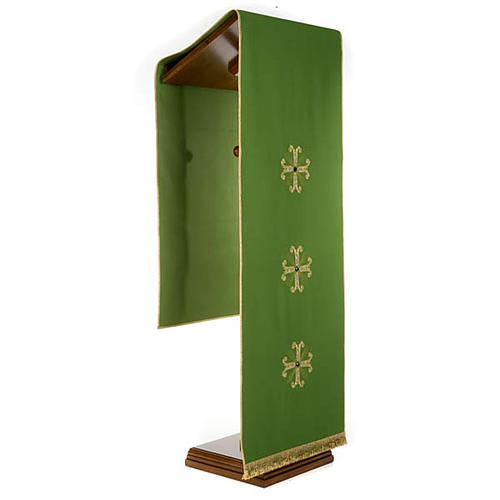 Lectern Cover, embroidered 3 golden crosses with glass beads 2