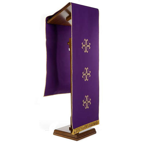 Lectern Cover, embroidered 3 golden crosses with glass beads 6