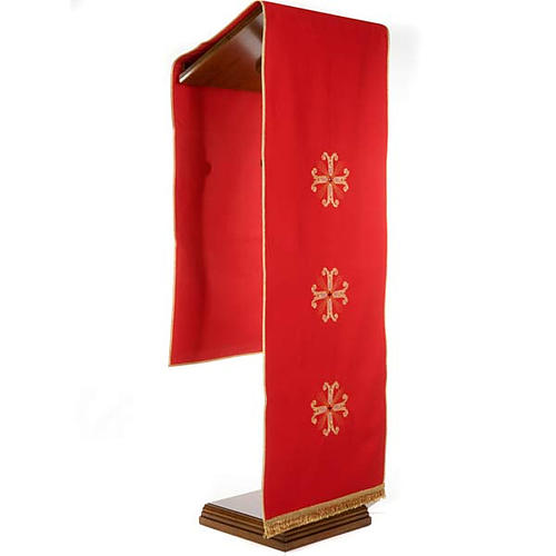 Lectern Cover, embroidered 3 golden crosses with glass beads 8