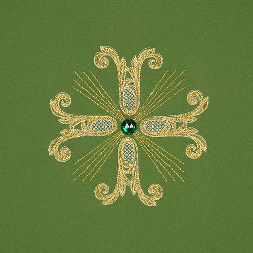 Coprileggio 3 croci dorate perline vetro 3