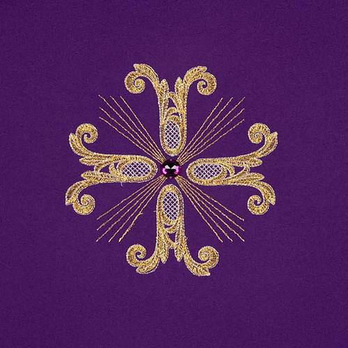 Coprileggio 3 croci dorate perline vetro 5