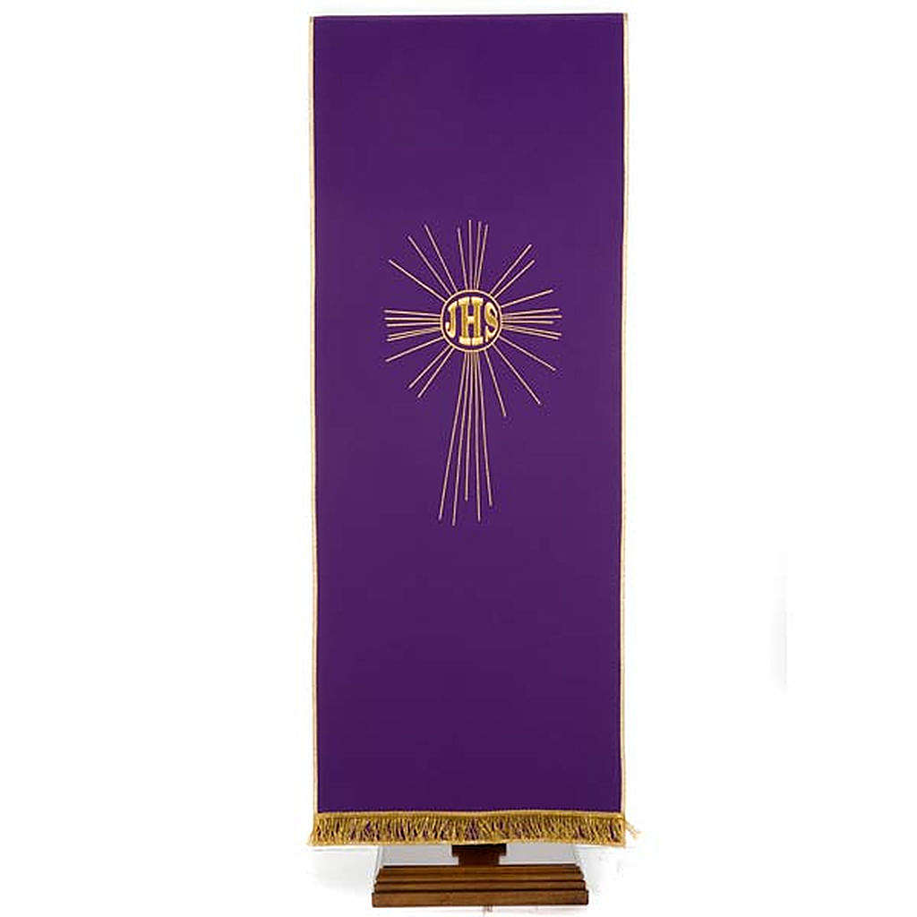 Pulpit cover with embroidered IHS and halo of rays 4