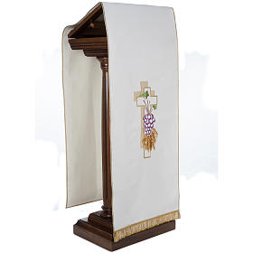 Lectern Cover, cross, grapes, wheat, in liturgical colours s5