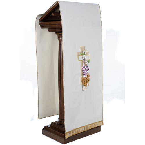 Lectern Cover, cross, grapes, wheat, in liturgical colours 5