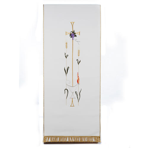 Lectern Cover, cross, lamp, grapes, wheat, in liturgical colours 1