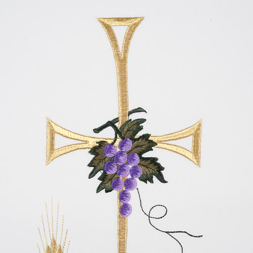 Lectern Cover, cross, lamp, grapes, wheat, in liturgical colours 2