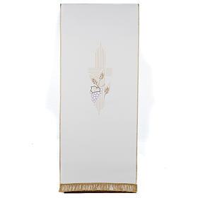 Pano de ambão cruz estilizada trigo uva cores litúrgicas s1