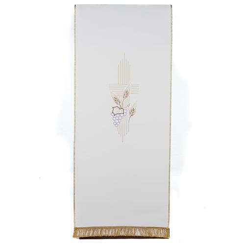 Pano de ambão cruz estilizada trigo uva cores litúrgicas 1