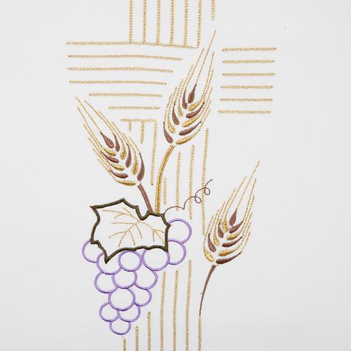 Pano de ambão cruz estilizada trigo uva cores litúrgicas 2