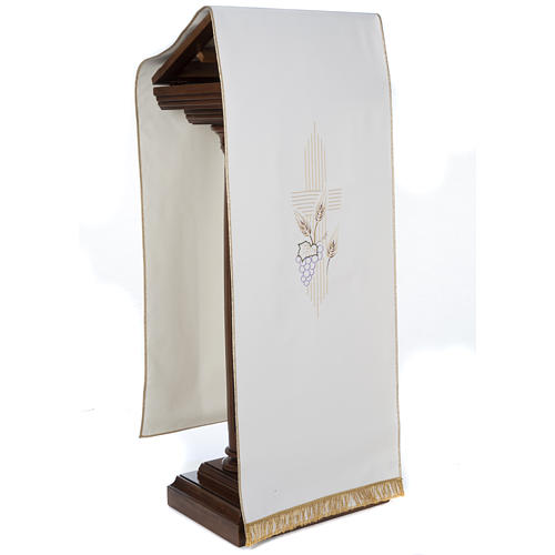 Pano de ambão cruz estilizada trigo uva cores litúrgicas 4