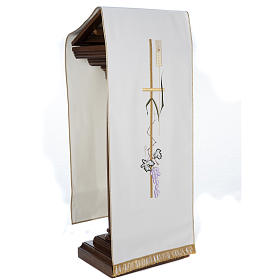 Lectern Cover with tall cross wheat and grapes, different colour s5