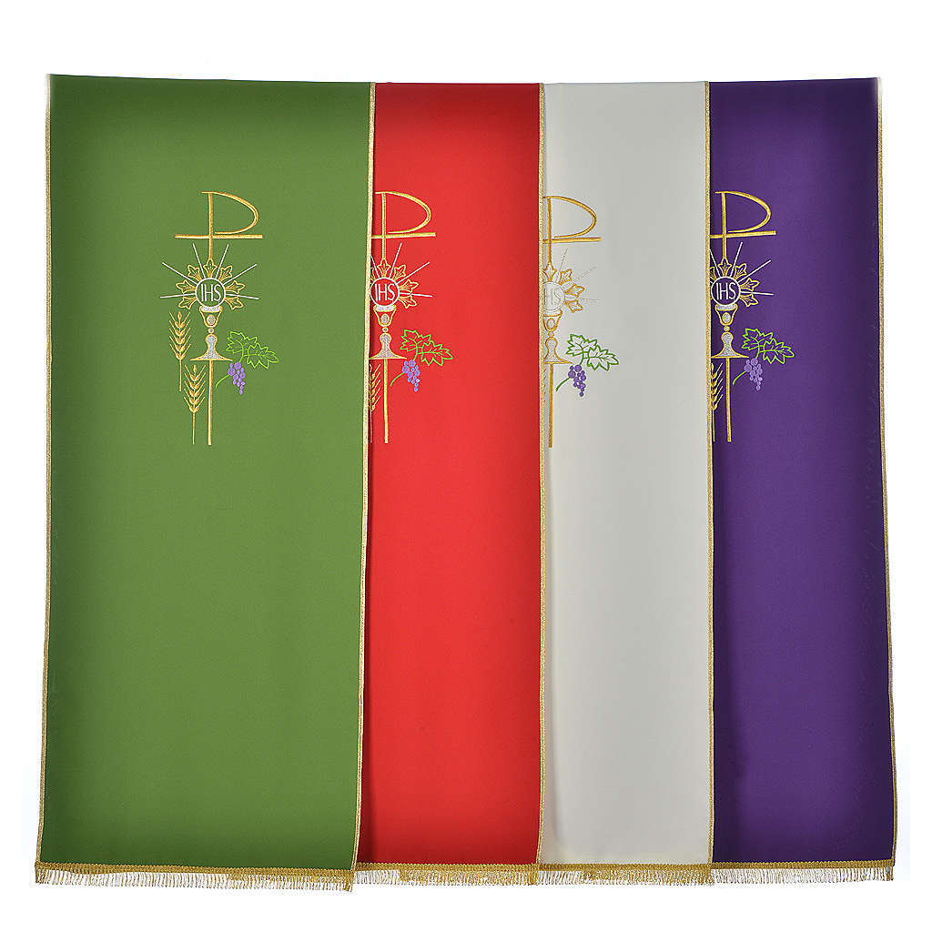 Lectern Cover in polyester, Chi Rho, chalice, host, wheat 4