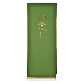 Lectern Cover in polyester, Chi Rho, chalice, host, wheat s5