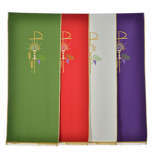 Lectern Cover in polyester, Chi Rho, chalice, host, wheat 1