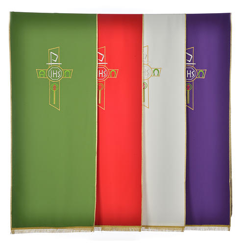Lectern Cover in polyester, cross, Chi Rho, IHS, Alpha Omega 1