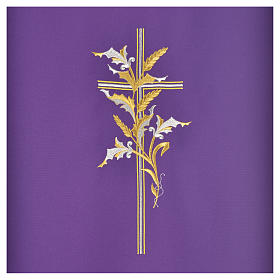 Cross & ears of wheat pulpit cover, polyester s6