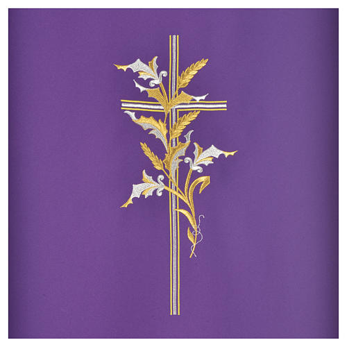 Cross & ears of wheat pulpit cover, polyester 6