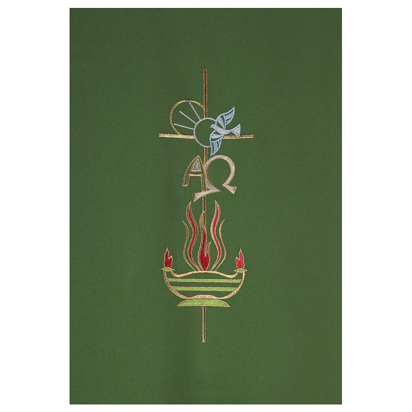 Lectern Cover in polyester, cross, Alpha Omega, flames 4