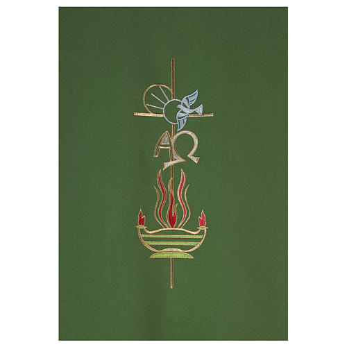 Lectern Cover in polyester, cross, Alpha Omega, flames 2