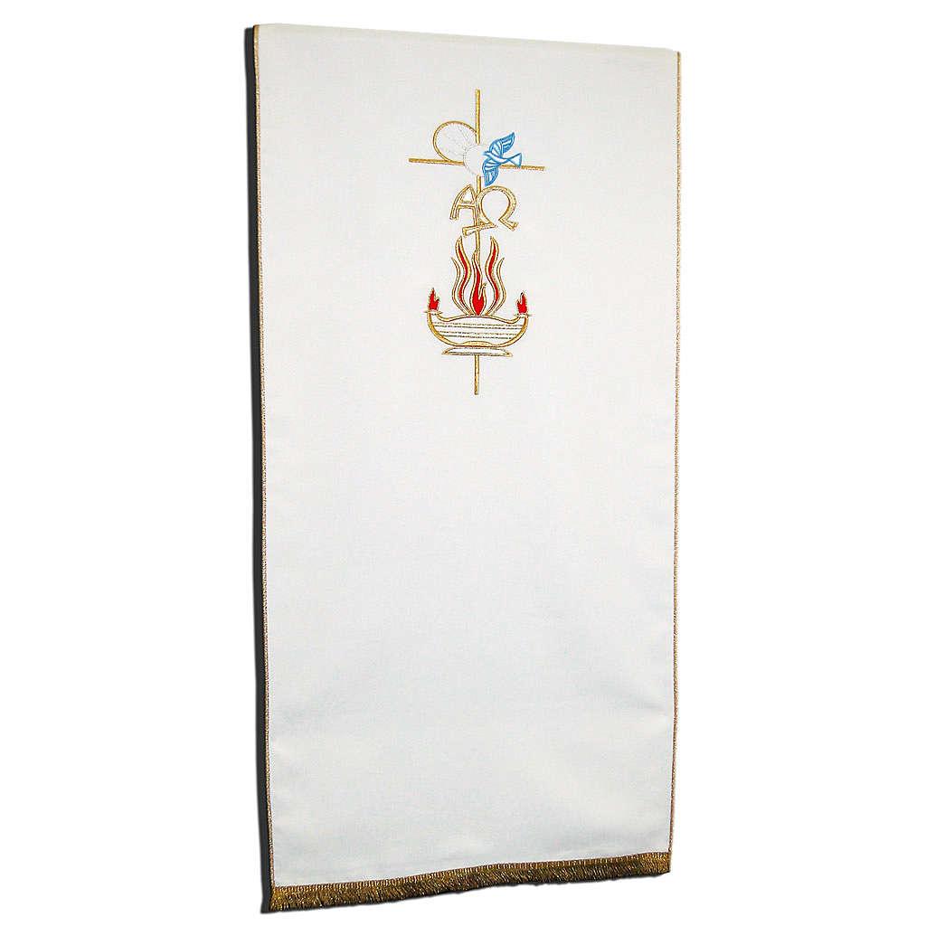 Voile de lutrin croix Alpha et Oméga flamme 100%polyester 4
