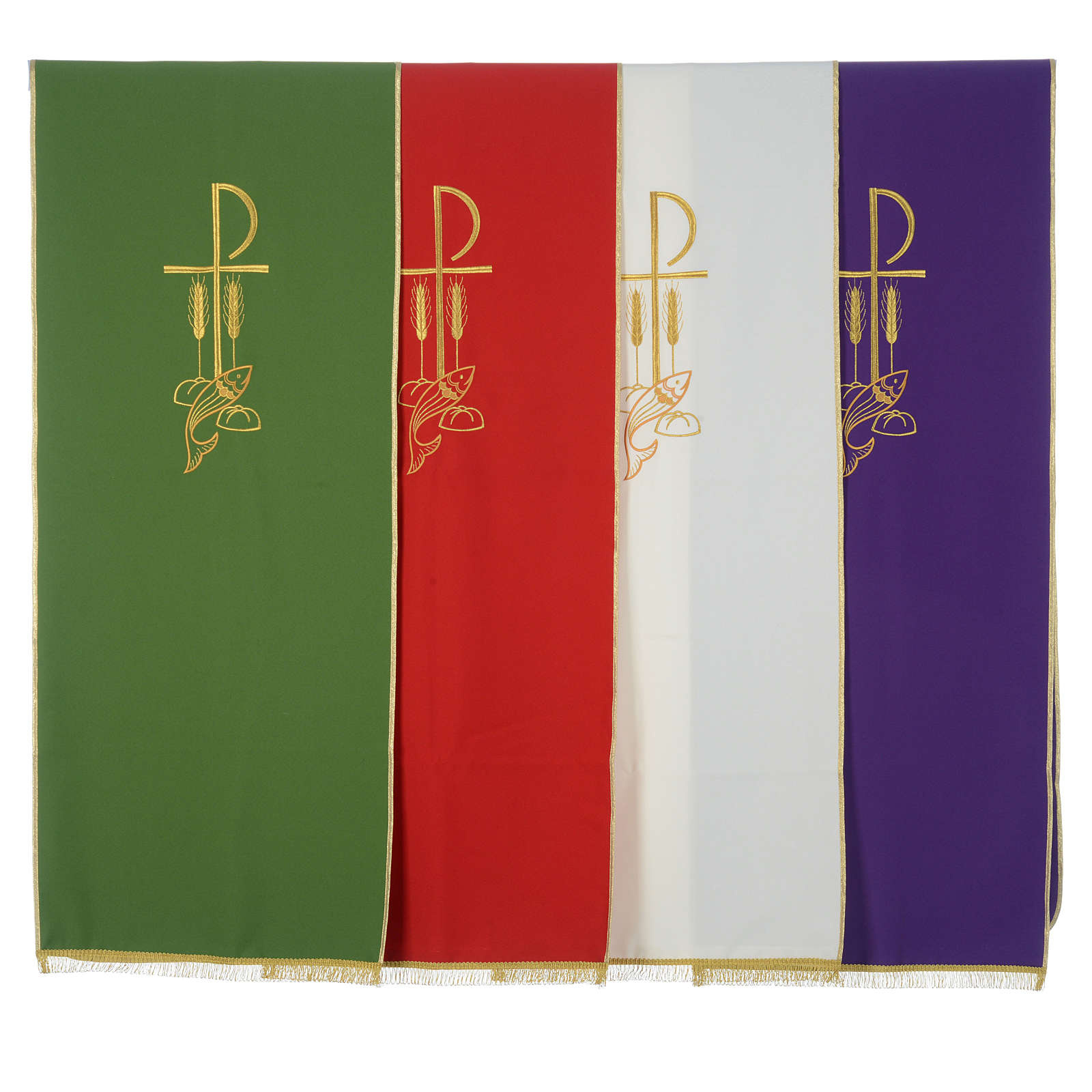 Lectern Cover in polyester, Chi Rho, loaves and fishes 4