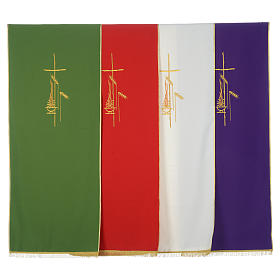 Lectern Cover in polyester, cross, flames, ears of wheat s1