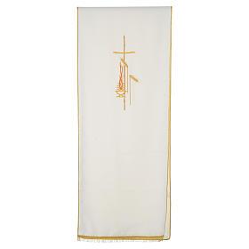 Voile de lutrin croix, flamme et épis 100% polyester s5