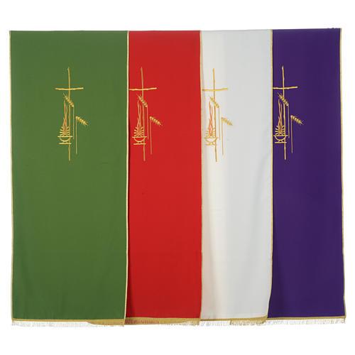 Voile de lutrin croix, flamme et épis 100% polyester 1