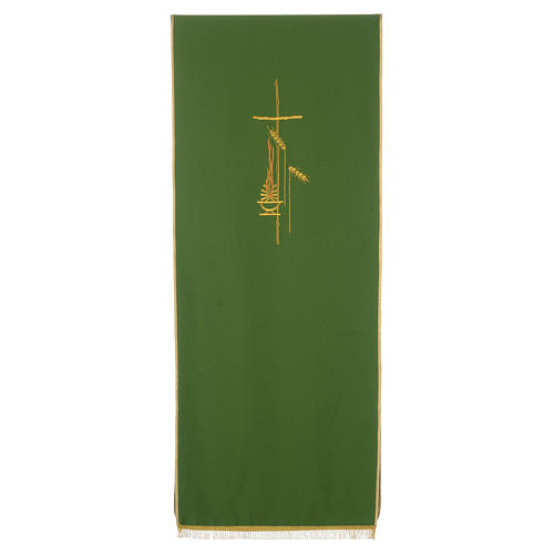 Voile de lutrin croix, flamme et épis 100% polyester 2