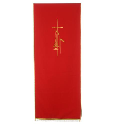 Voile de lutrin croix, flamme et épis 100% polyester 4