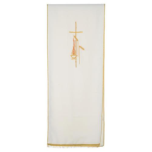 Voile de lutrin croix, flamme et épis 100% polyester 5