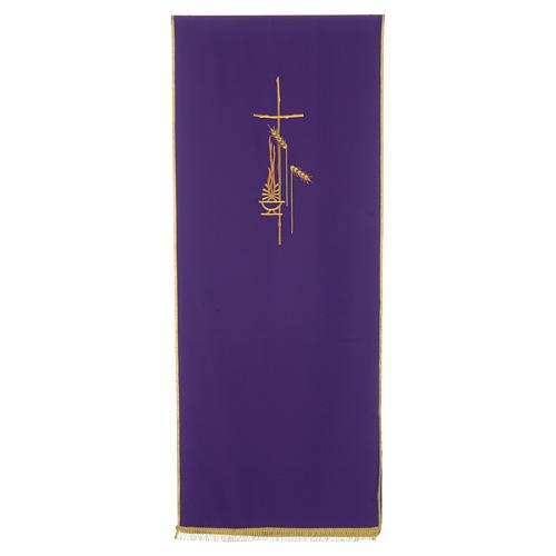 Voile de lutrin croix, flamme et épis 100% polyester 6