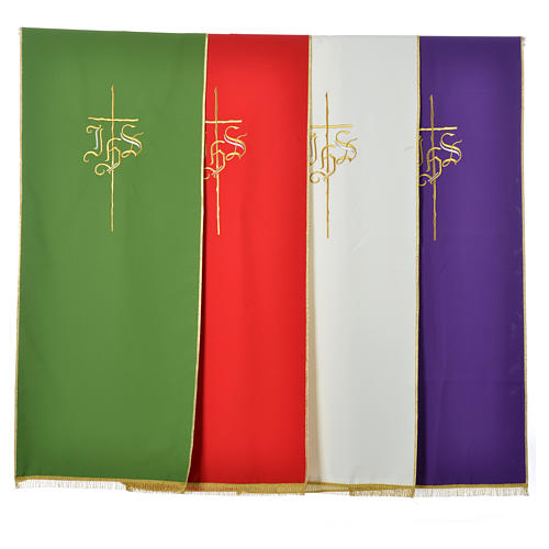 Pulpit cover with IHS and cross, polyester 6