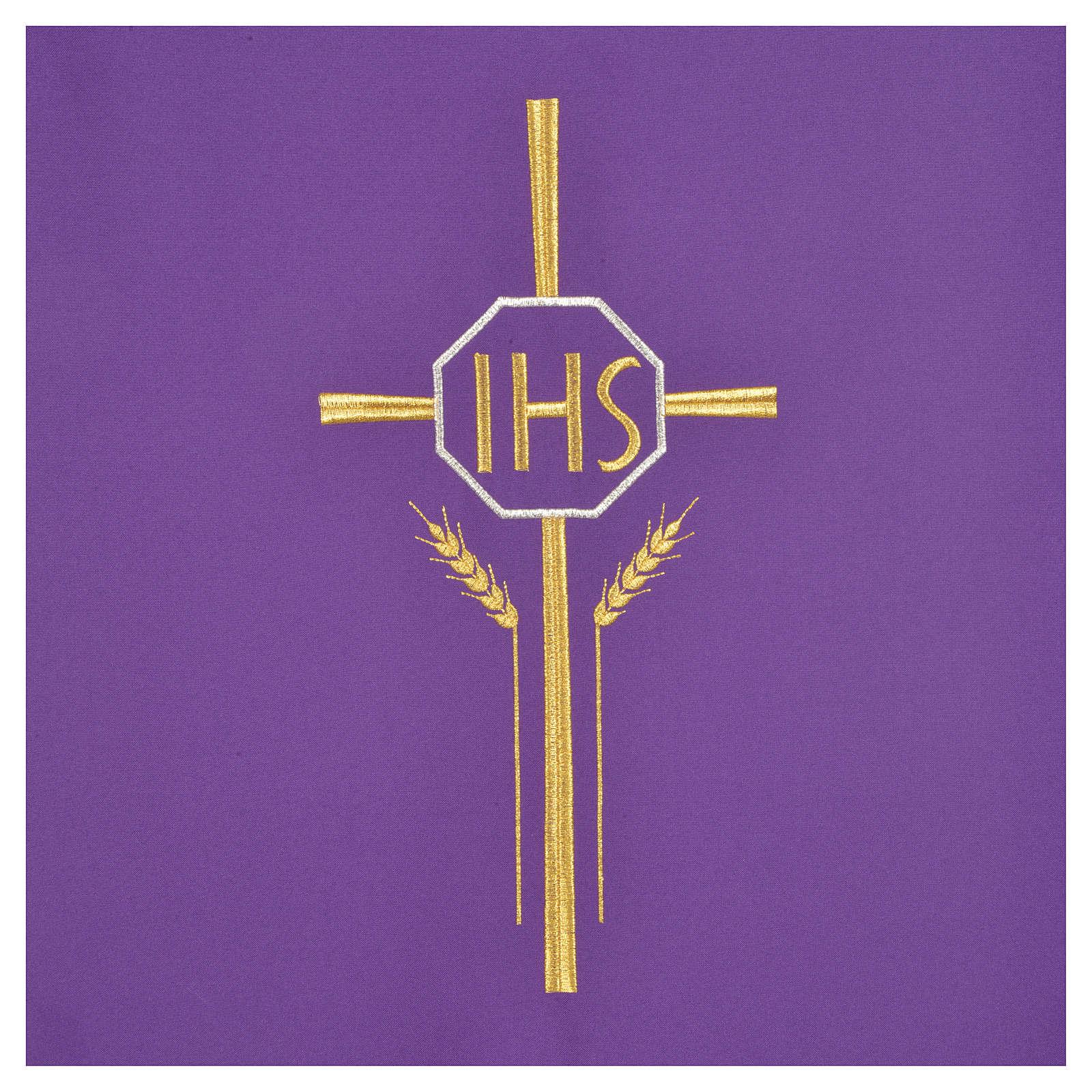 Pultbehang Kreuz Weizenähre und IHS Symbol Polyester 4