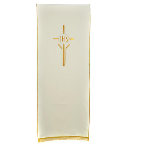 Pultbehang Kreuz Weizenähre und IHS Symbol Polyester 3