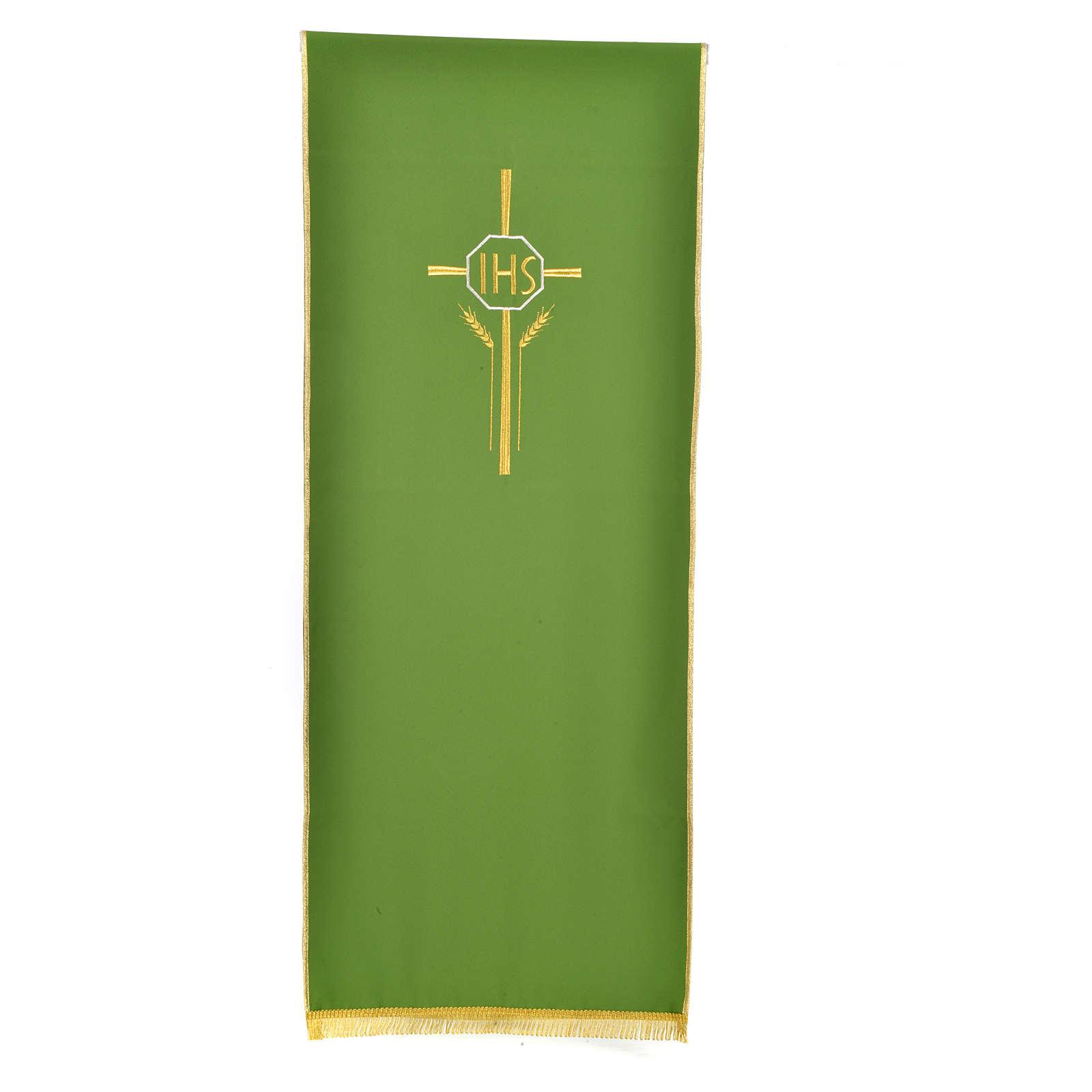 Voile de lutrin croix, IHS et épis 100% polyester 4