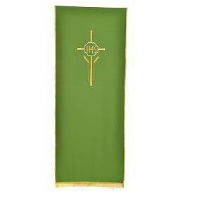 Voile de lutrin croix, IHS et épis 100% polyester s5